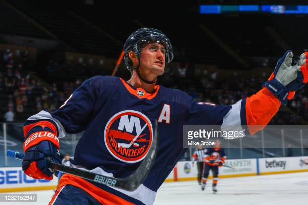 Brock Nelson of the New York Islanders celebrates after scoring a goal against the Washington Capitals during the third period at Nassau Coliseum on...