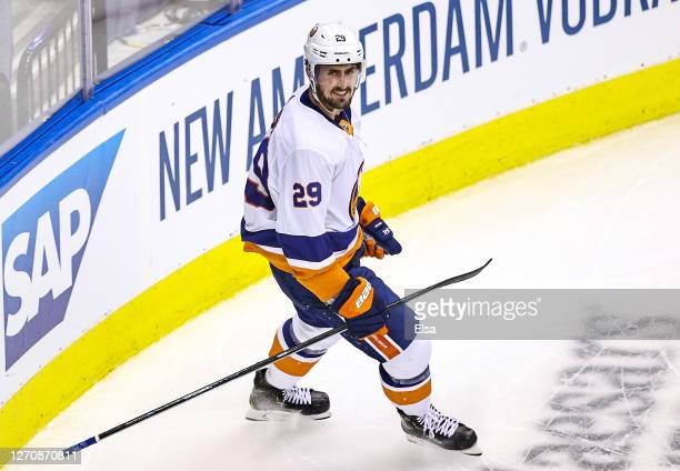 Brock Nelson of the New York Islanders celebrates after scoring a goal against the Philadelphia Flyers during the second period in Game Seven of the...