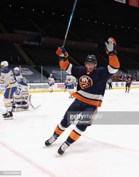 Brock Nelson of the New York Islanders celebrates his goal at 5;16 of the second period against the Buffalo Sabres at the Nassau Coliseum on March...