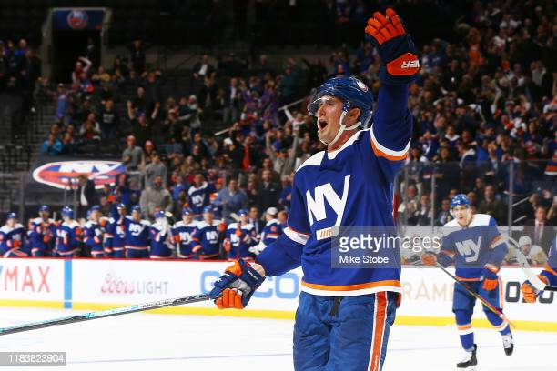 Brock Nelson of the New York Islanders celebrates his third period goal against the Pittsburgh Penguins at Barclays Center on November 21, 2019 in...
