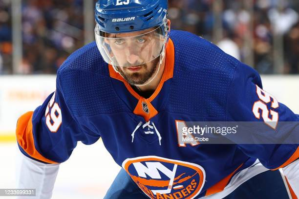Brock Nelson of the New York Islanders in action against the Tampa Bay Lightning in Game Six of the Stanley Cup Semifinals of the 2021 Stanley Cup...