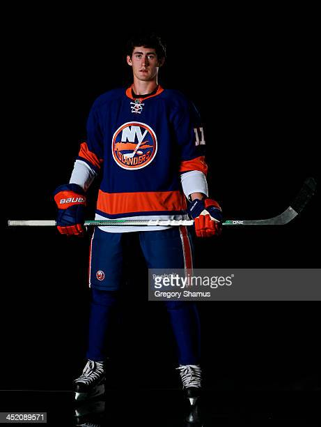Brock Nelson of the New York Islanders poses for an NHLPA The Players Collection portrait at The Westin Harbour Castle hotel on August 27 2012 in...