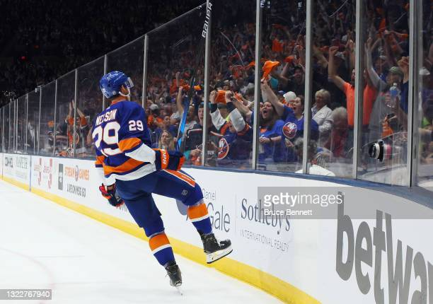 Brock Nelson of the New York Islanders scores against the Boston Bruins at 5:20 of the second period in Game Six of the Second Round of the 2021 NHL...