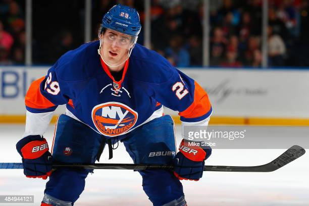 Brock Nelson of the New York Islanders skates against the New Jersey Devils at Nassau Veterans Memorial Coliseum on March 29, 2014 in Uniondale, New...