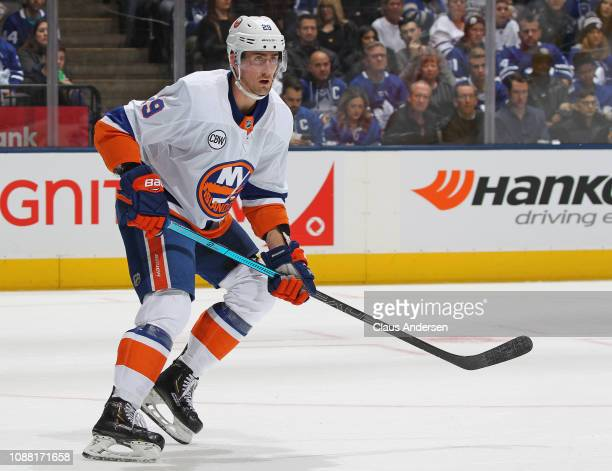 Brock Nelson of the New York Islanders skates against the Toronto Maple Leafs during an NHL game at Scotiabank Arena on December 29 2018 in Toronto...