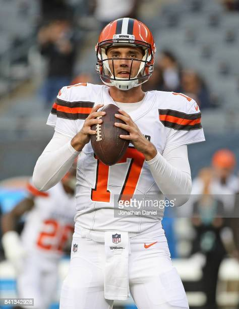 Brock Osweiler of the Cleveland Browns participates in warmups before a preseason game against the Chicago Bears at Soldier Field on August 31 2017...