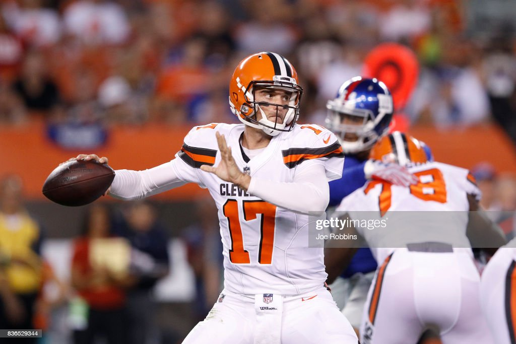 Brock Osweiler #17 of the Cleveland Browns passes in the first half of a preseason game against the New York Giants at FirstEnergy Stadium on August 21, 2017 in Cleveland, Ohio.