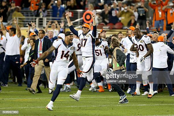 Brock Osweiler of the Denver Broncos celebrates after winning Super Bowl 50 at Levi's Stadium on February 7 2016 in Santa Clara California The Denver...