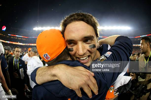 Brock Osweiler of the Denver Broncos celebrates after winning Super Bowl 50 at Levi's Stadium on February 7 2016 in Santa Clara California The Denver...