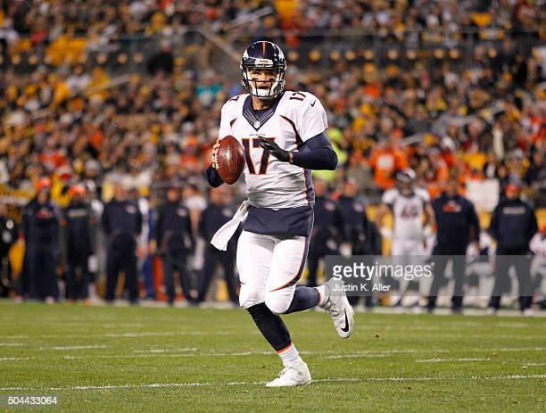 Brock Osweiler of the Denver Broncos in action during the game against the Pittsburgh Steelers on December 20 2015 at Heinz Field in Pittsburgh...