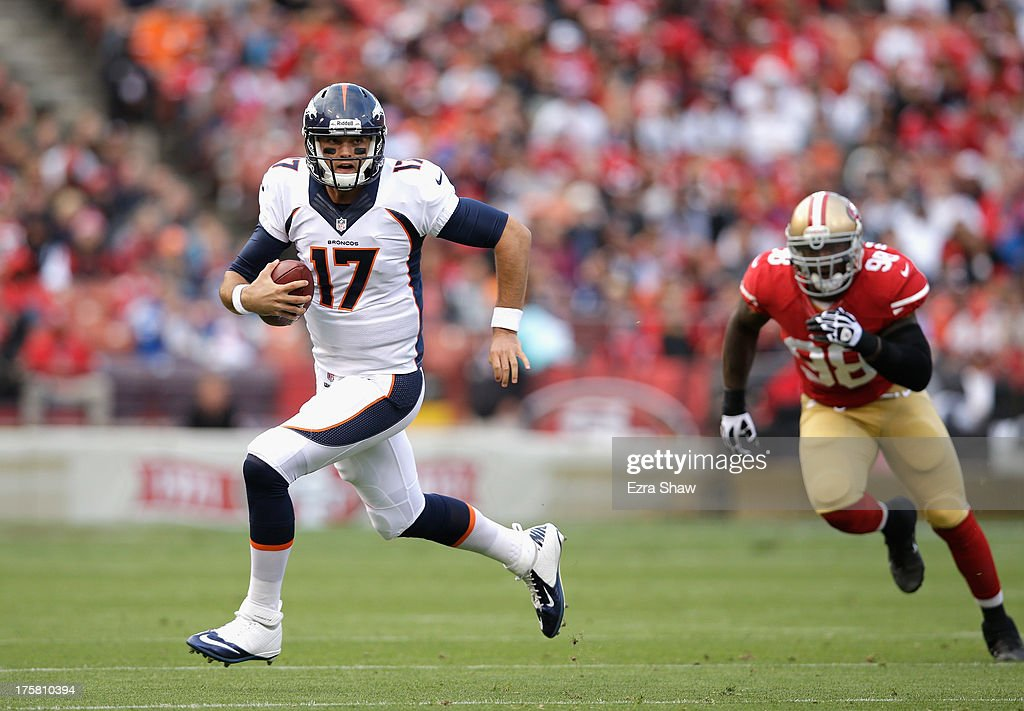 Brock Osweiler #17 of the Denver Broncos in action during their preseason NFL game against the San Francisco 49ers at Candlestick Park on August 8, 2013 in San Francisco, California.