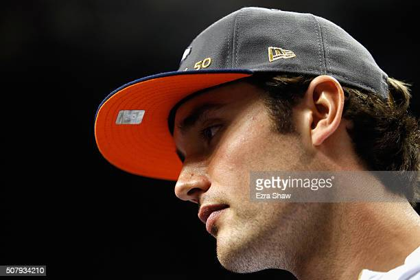 Brock Osweiler of the Denver Broncos looks on at Super Bowl Opening Night Fueled by Gatorade at SAP Center on February 1 2016 in San Jose California