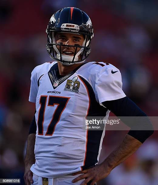 Brock Osweiler of the Denver Broncos on the field during warmups before the start of the game The Denver Broncos played the Carolina Panthers in...