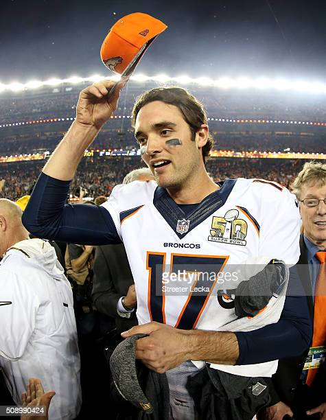Brock Osweiler of the Denver Broncos reacts after the Denver Broncos defeat the Carolina Panthers with a score of 24 to 10 to win Super Bowl 50 at...