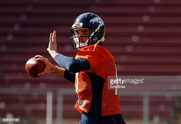 Brock Osweiler of the Denver Broncos runs a drill during practice at Stanford Stadium on February 4 2016 in Stanford California The Broncos will play...