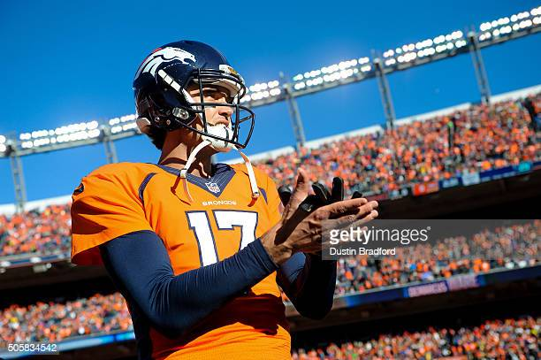 Brock Osweiler of the Denver Broncos stands on the field during player introductions before the AFC Divisional Playoff Game against the Pittsburgh...