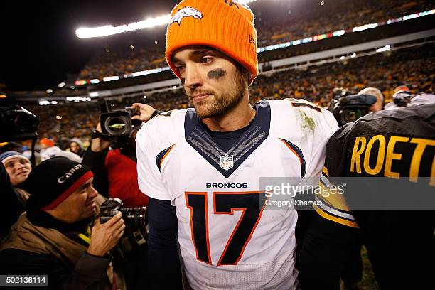 Brock Osweiler of the Denver Broncos walks off of the field after the game against the Pittsburgh Steelers at Heinz Field on December 20 2015 in...