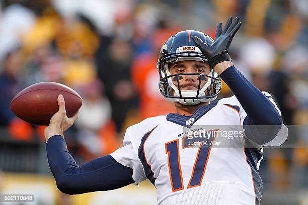 Brock Osweiler of the Denver Broncos warms up before the game against the Pittsburgh Steelers at Heinz Field on December 20 2015 in Pittsburgh...