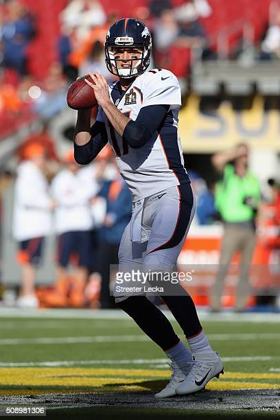 Brock Osweiler of the Denver Broncos warms up prior to Super Bowl 50 against the Carolina Panthers at Levi's Stadium on February 7 2016 in Santa...