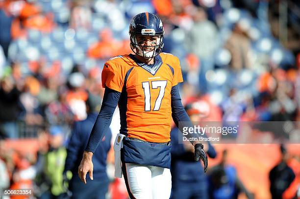 Brock Osweiler of the Denver Broncos warms up prior to the AFC Championship game against the New England Patriots at Sports Authority Field at Mile...