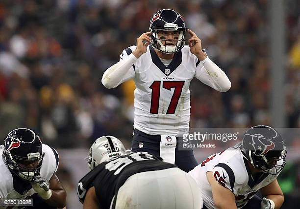 Brock Osweiler of the Houston Texans calls a play at the line of scrimmage against the Oakland Raiders at Estadio Azteca on November 21 2016 in...