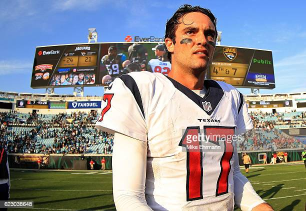 Brock Osweiler of the Houston Texans looks on during a game against the Jacksonville Jaguars at EverBank Field on November 13 2016 in Jacksonville...