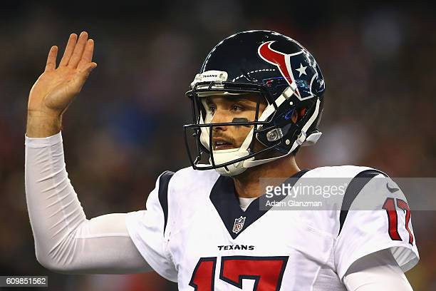 Brock Osweiler of the Houston Texans reacts during the game against the New England Patriots at Gillette Stadium on September 22 2016 in Foxboro...