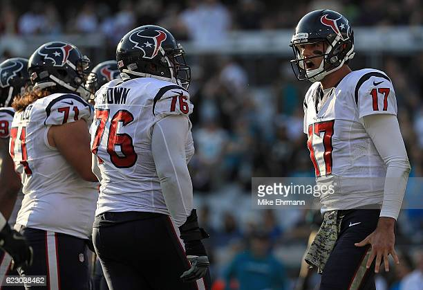 Brock Osweiler of the Houston Texans reacts to a game winning first down during a game against the Jacksonville Jaguars at EverBank Field on November...
