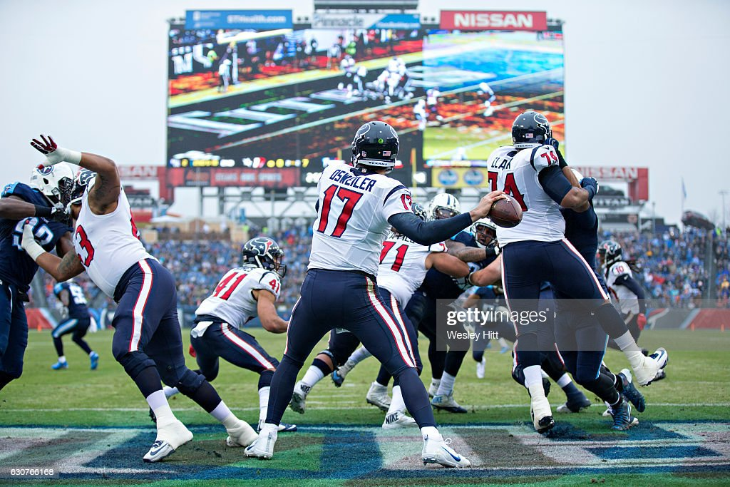 Brock Osweiler #17 of the Houston Texans throws a pass a pass from the end zone during a game against the Tennessee Titans at Nissan Stadium on January 1, 2017 in Cleveland, Ohio.