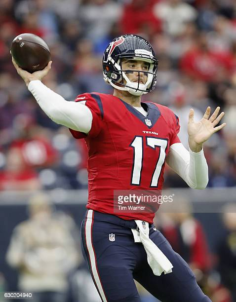 Brock Osweiler of the Houston Texans throws a pass against the Jacksonville Jaguars in the first quarter at NRG Stadium on December 18 2016 in...