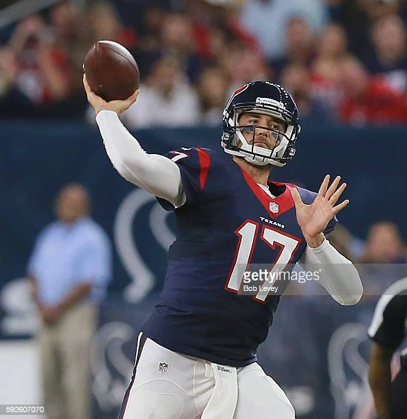 Brock Osweiler of the Houston Texans throws a pass in the second quarter against the New Orleans Saints in a preseason NFL game at NRG Stadium on...