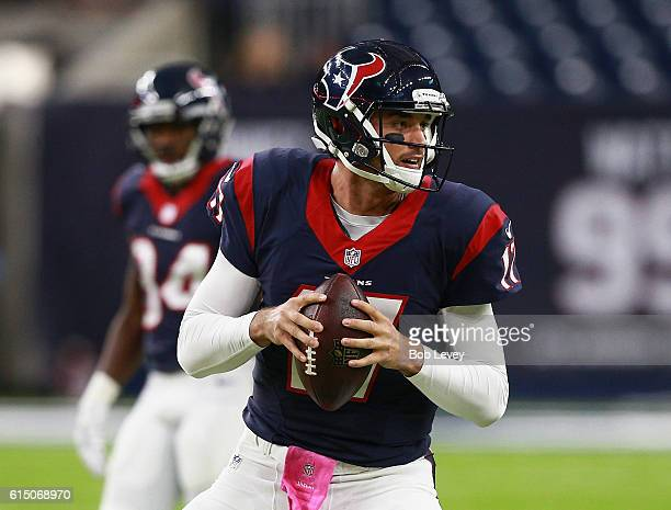 Brock Osweiler of the Houston Texans warms up before playing the Indianapolis Colts at NRG Stadium on October 16 2016 in Houston Texas