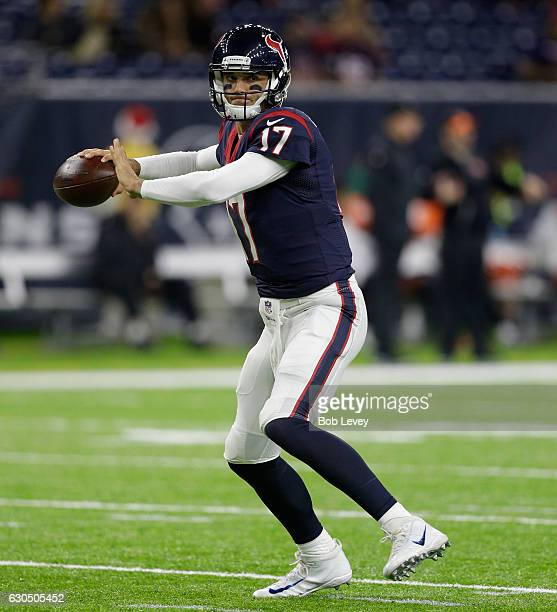 Brock Osweiler of the Houston Texans warms up before playing the Cincinnati Bengals at NRG Stadium on December 24 2016 in Houston Texas