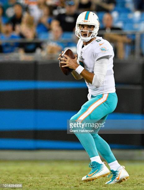 Brock Osweiler of the Miami Dolphins drops back to pass against the Carolina Panthers in the second quarter during the game at Bank of America...