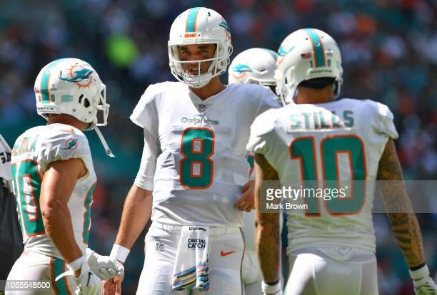 Brock Osweiler of the Miami Dolphins in action against the Chicago Bears at Hard Rock Stadium on October 14 2018 in Miami Florida