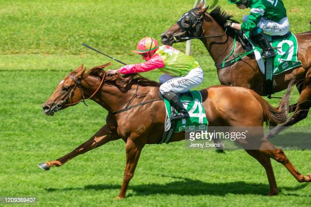 Brock Ryan on Look Only wins race 1 the Tab Highway Handicap during Sydney Racing at Royal Randwick Racecourse on February 29 2020 in Sydney Australia