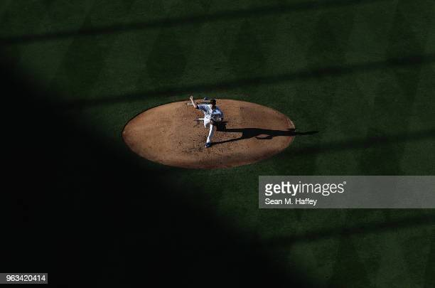 Brock Stewart of the Los Angeles Dodgers pitches during the third inning of a game against the Philadelphia Phillies at Dodger Stadium on May 28 2018...