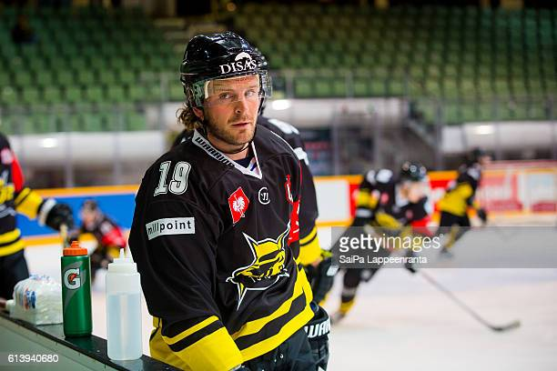 Brock Trotter of Lappeenranta before the Champions Hockey League Round of 32 match between SaiPa Lappeenranta and Tappara Tampere at Kisapuisto on...