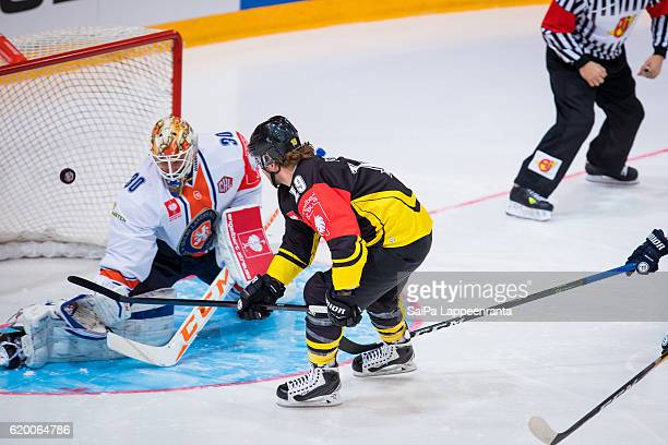 Brock Trotter of Lappeenranta scores 1st goal during the Champions Hockey League Round of 16 match between SaiPa Lappeenranta and Vaxjo Lakers at...