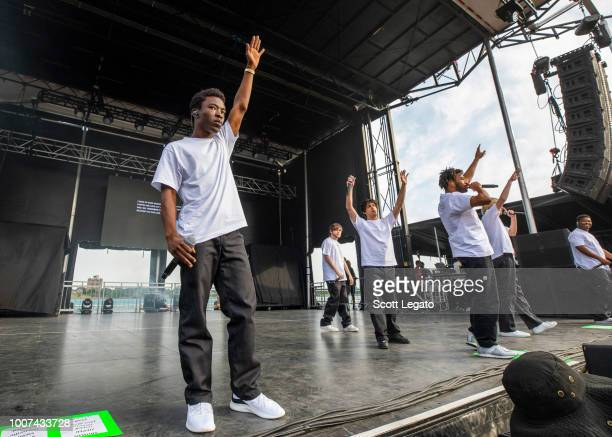 Brockhampton perform during day 2 of Mo Pop Festival at West Riverfront Park on July 29 2018 in Detroit Michigan