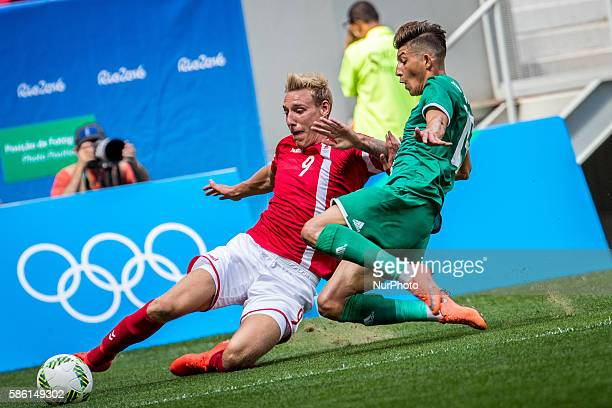 BrockMadsen Nicolai of Denmark competes during the men's group A football match between Iraq and Denmark at the 2016 Olympic Games in Brasilia Brazil...