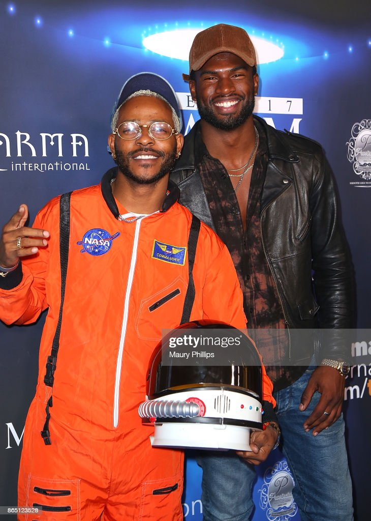 Broderick Hunter and Eric Bellinger arrive at the 2017 Maxim Halloween Party at Los Angeles Center Studios on October 21, 2017 in Los Angeles, California.