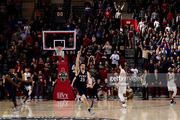 Brodeur of the Pennsylvania Quakers celebrates as time expires during the second half of the Men's Ivy League Championship Tournament at The Palestra...