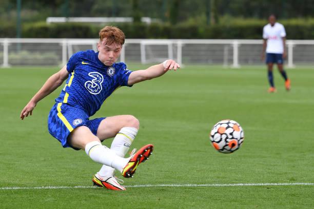 Brodi Hughes of Chelsea shoots for gaol during the Tottenham Hotspur v Chelsea U18 Premier League match at Tottenham Hotspur Training Centre on...