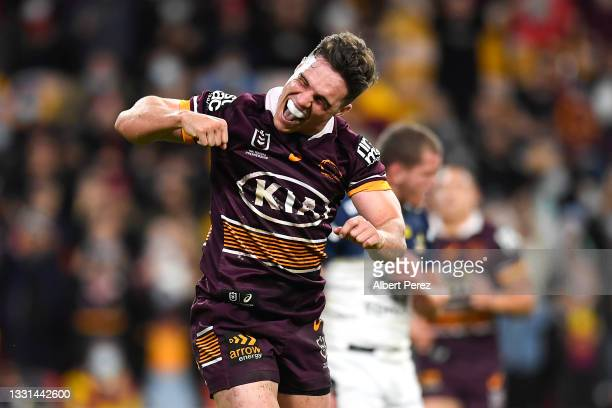 Brodie Croft of the Broncos celebrates after scoring a try during the round 20 NRL match between the Brisbane Broncos and the North Queensland...