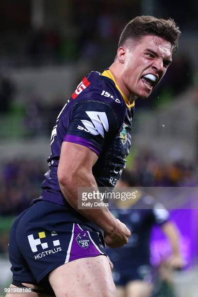 Brodie Croft of the Storm celebrates his try during the round 17 NRL match between the Melbourne Storm and the St George Illawarra Dragons at AAMI...