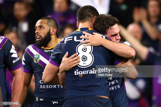 Brodie Croft of the Storm celebrates scoring a try with Jesse Bromwich of the Storm during the NRL Preliminary Final match between the Melbourne...