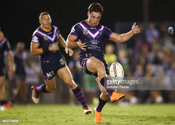 Brodie Croft of the Storm kicks during the round four NRL match between the Cronulla Sharks and the Melbourne Storm at Southern Cross Group Stadium...