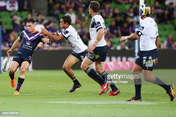 Brodie Croft of the Storm kicks the ball during the round three NRL match between the Melbourne Storm and the North Queensland Cowboys at AAMI Park...