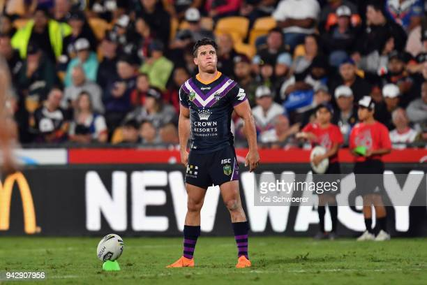Brodie Croft of the Storm looks to kick a conversion during the round five NRL match between the Wests Tigers and the Melbourne Storm at Mt Smart...